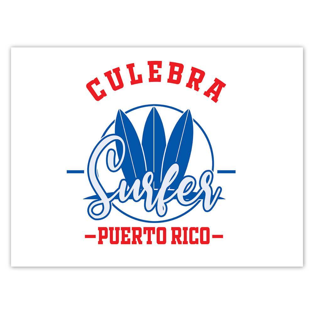Culebra Surfer Puerto Rico USA : Gift Sticker Tropical Beach Travel Vacation Surfing