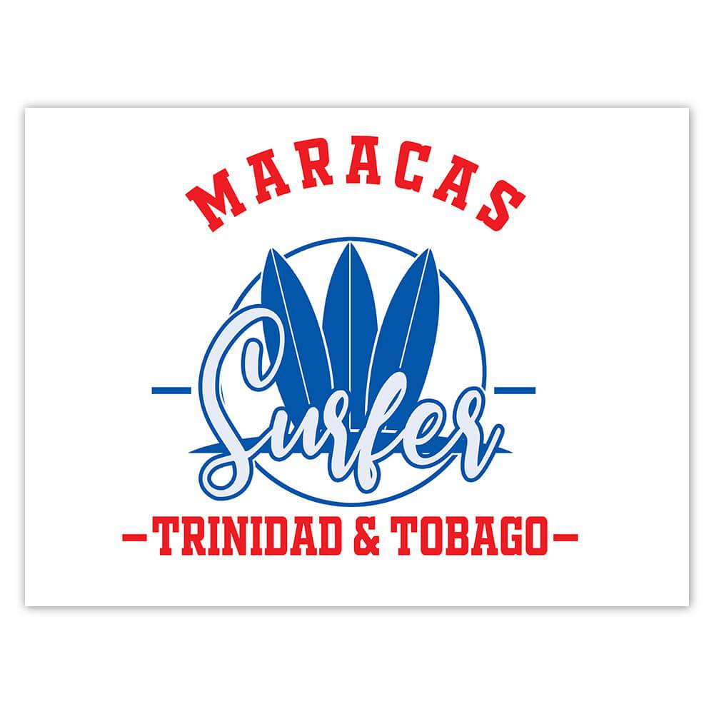 Maracas Surfer Trinidad and Tobago : Gift Sticker Tropical Beach Travel Vacation Surfing