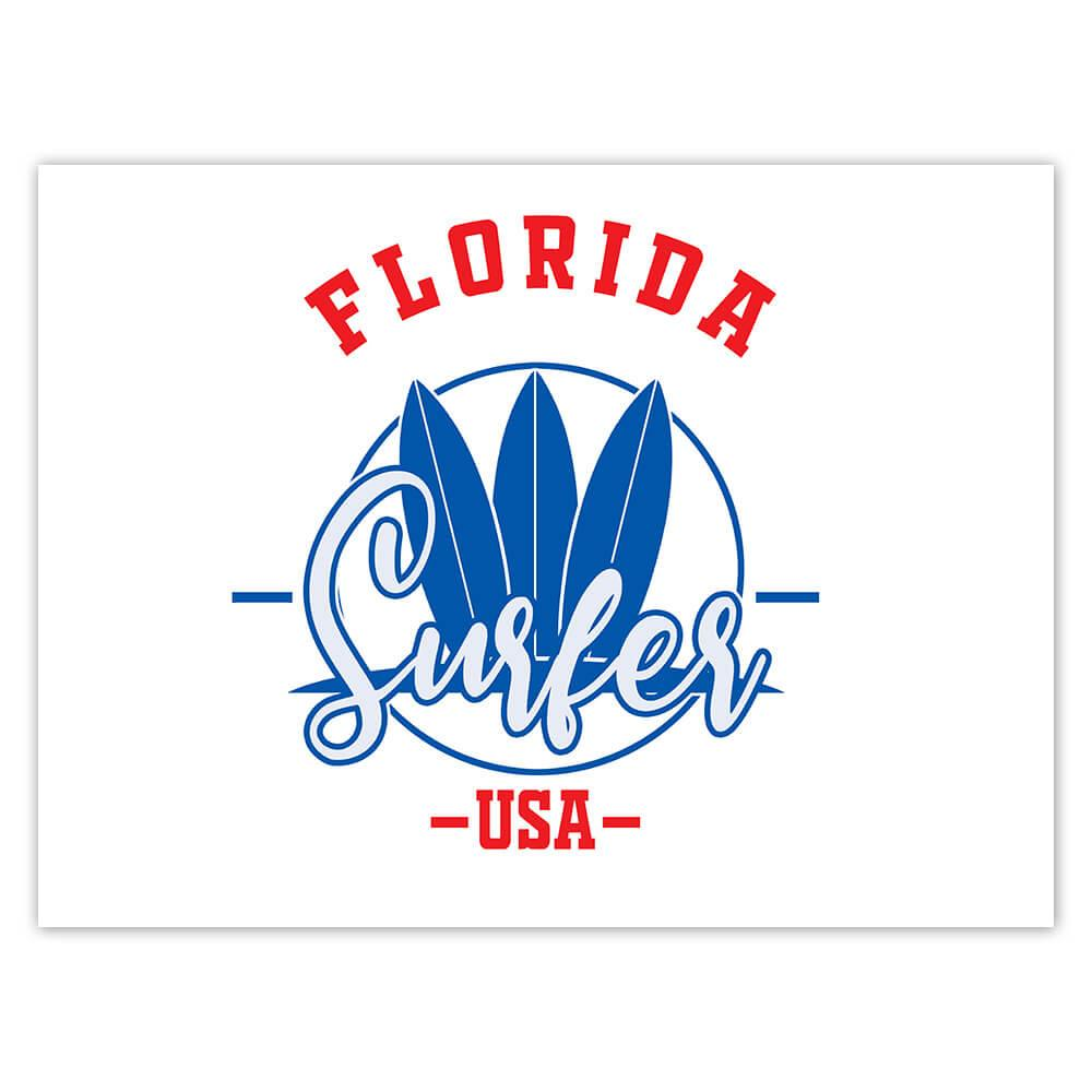 Florida Surfer USA : Gift Sticker Tropical Beach Travel Vacation Surfing