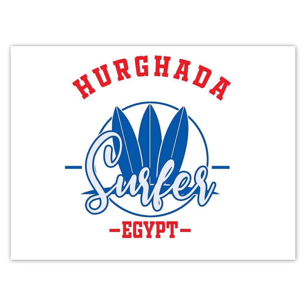 Hurghada Surfer Egypt : Gift Sticker Tropical Beach Travel Vacation Surfing
