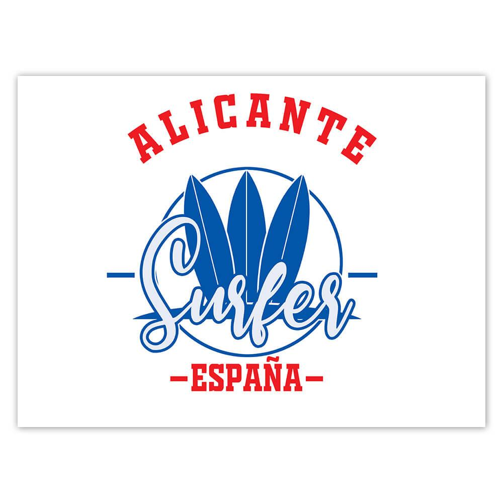 Alicante Surfer Spain : Gift Sticker Tropical Beach Travel Vacation Surfing