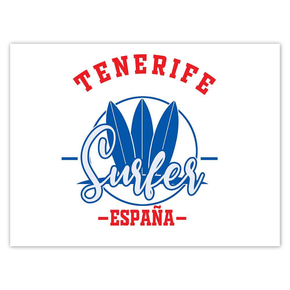 Tenerife Surfer Spain : Gift Sticker Tropical Beach Travel Vacation Surfing