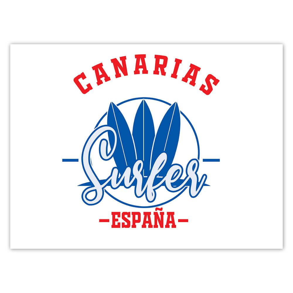 Canarias Surfer Spain : Gift Sticker Tropical Beach Travel Vacation Surfing