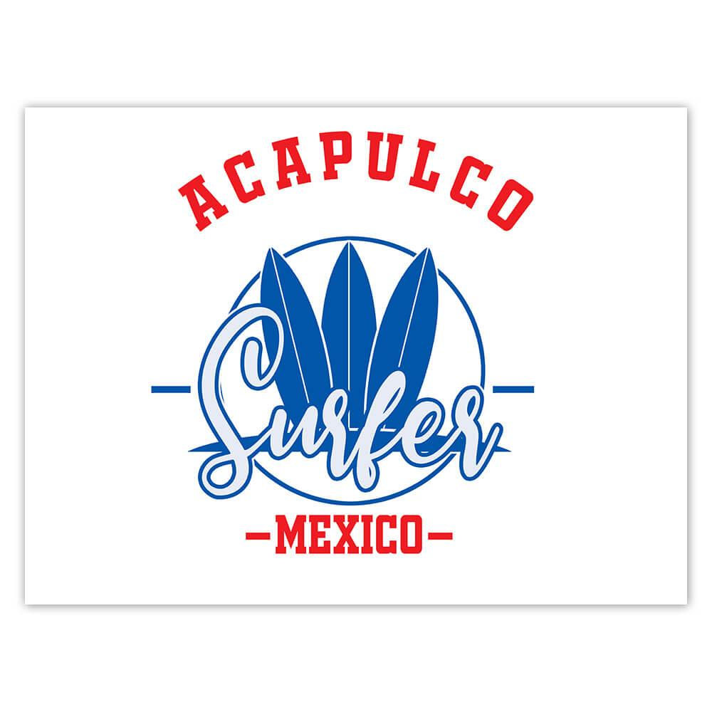 Acapulco Surfer Mexico : Gift Sticker Tropical Beach Travel Vacation Surfing