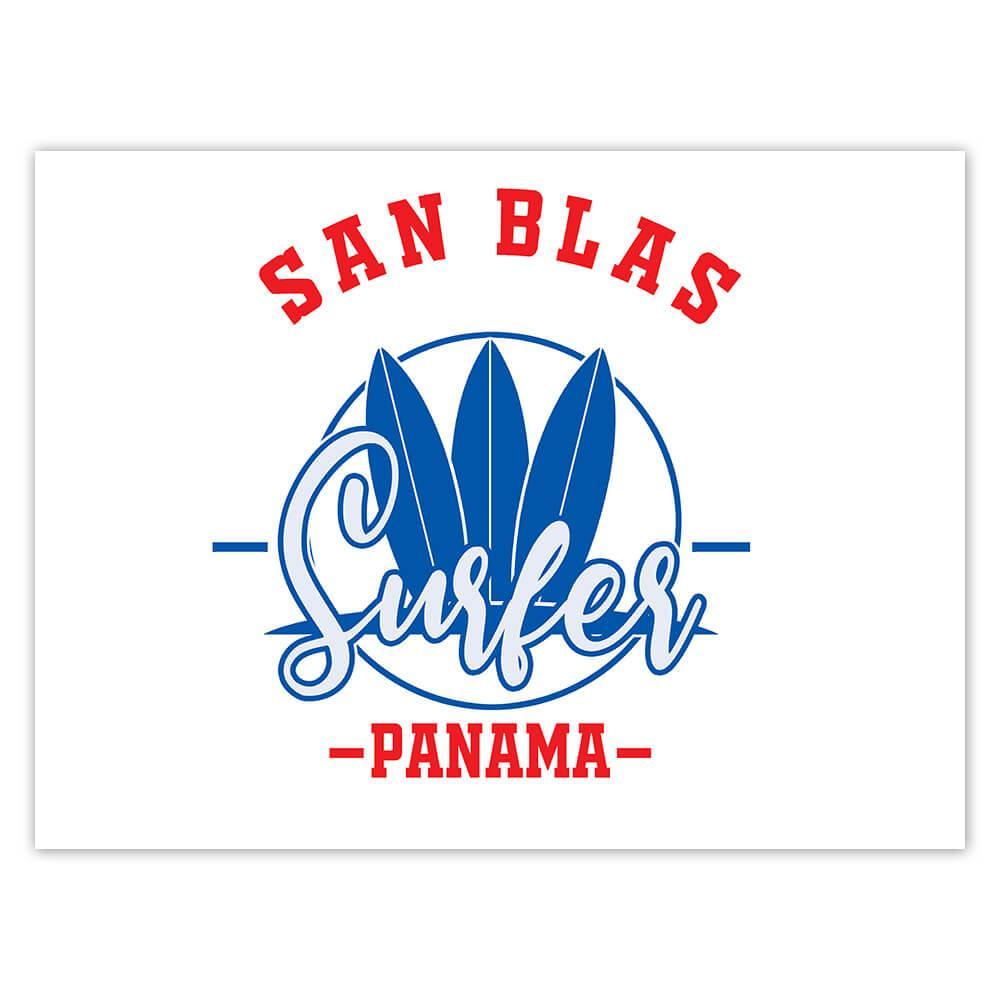 San Blas Surfer Panama : Gift Sticker Tropical Beach Travel Vacation Surfing