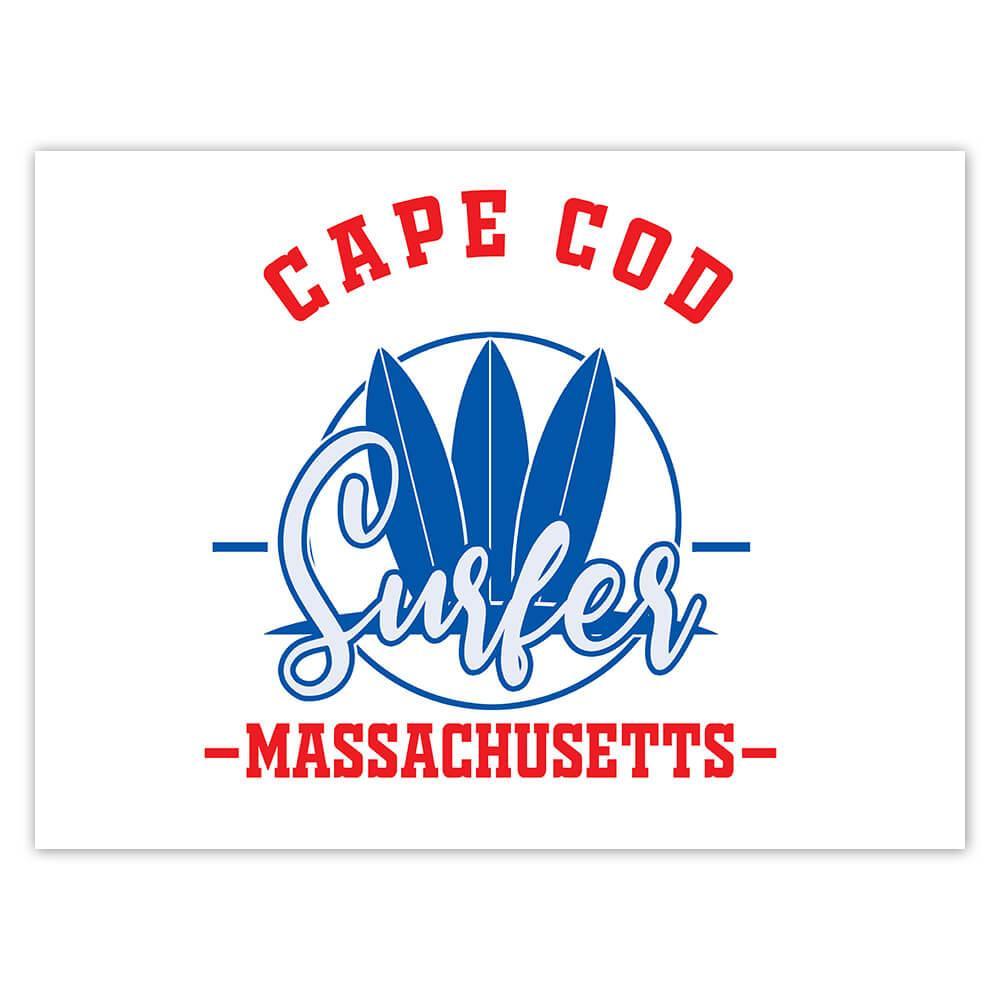 Cape Cod Surfer Massachusetts USA : Gift Sticker Tropical Beach Travel Vacation Surfing