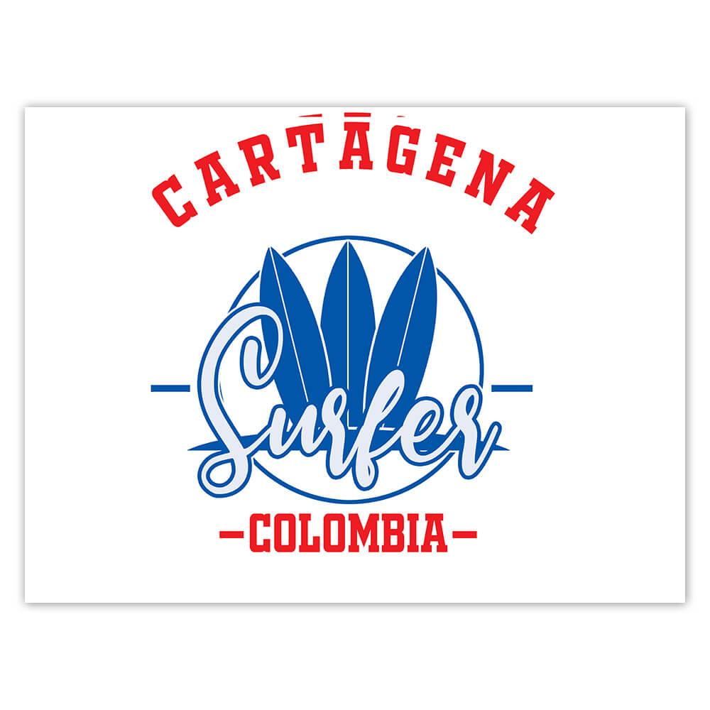 Cartagena Surfer Colombia : Gift Sticker Tropical Beach Travel Vacation Surfing