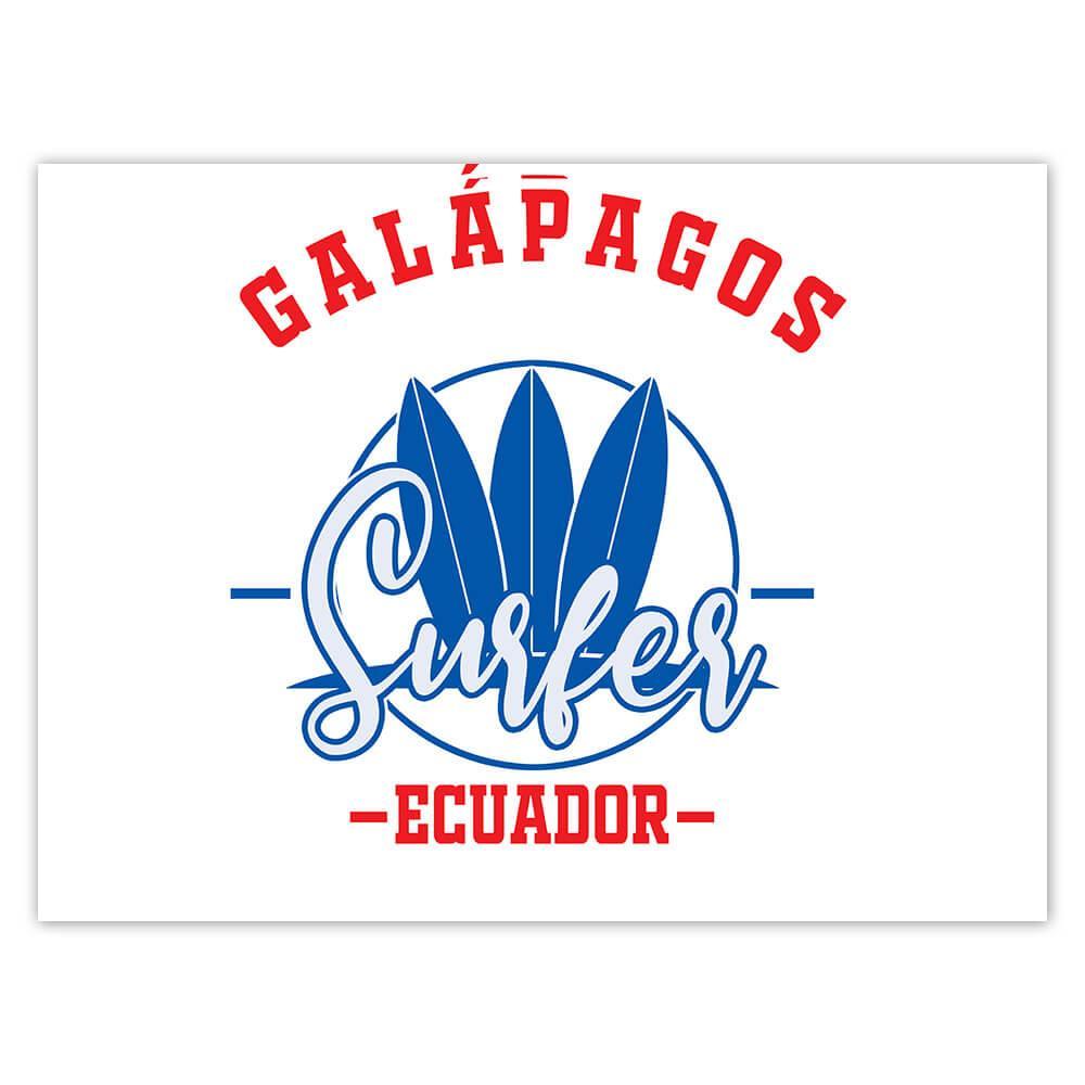 Galapagos Surfer Ecuador : Gift Sticker Tropical Beach Travel Vacation Surfing