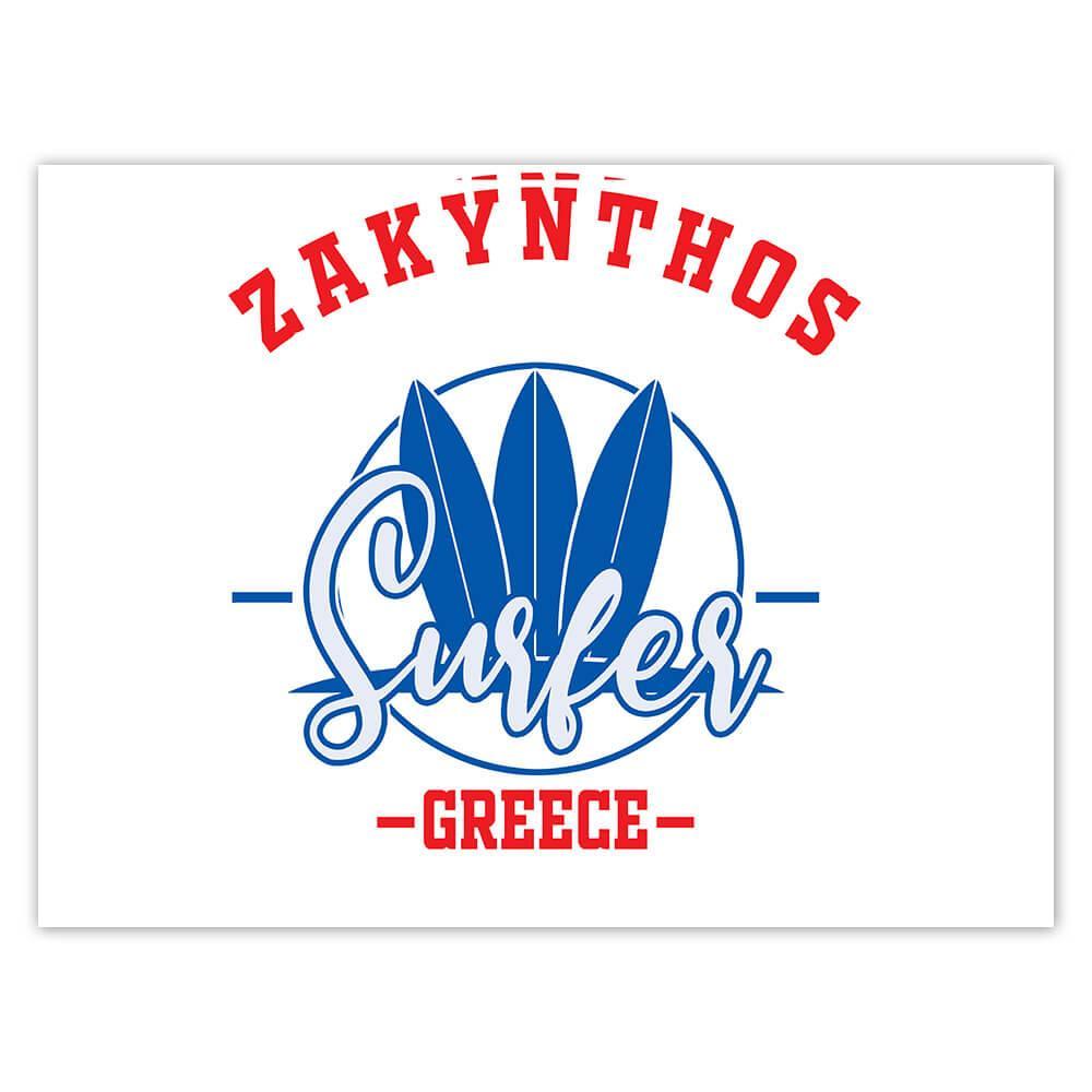 Zarynthos Surfer Greece : Gift Sticker Tropical Beach Travel Vacation Surfing