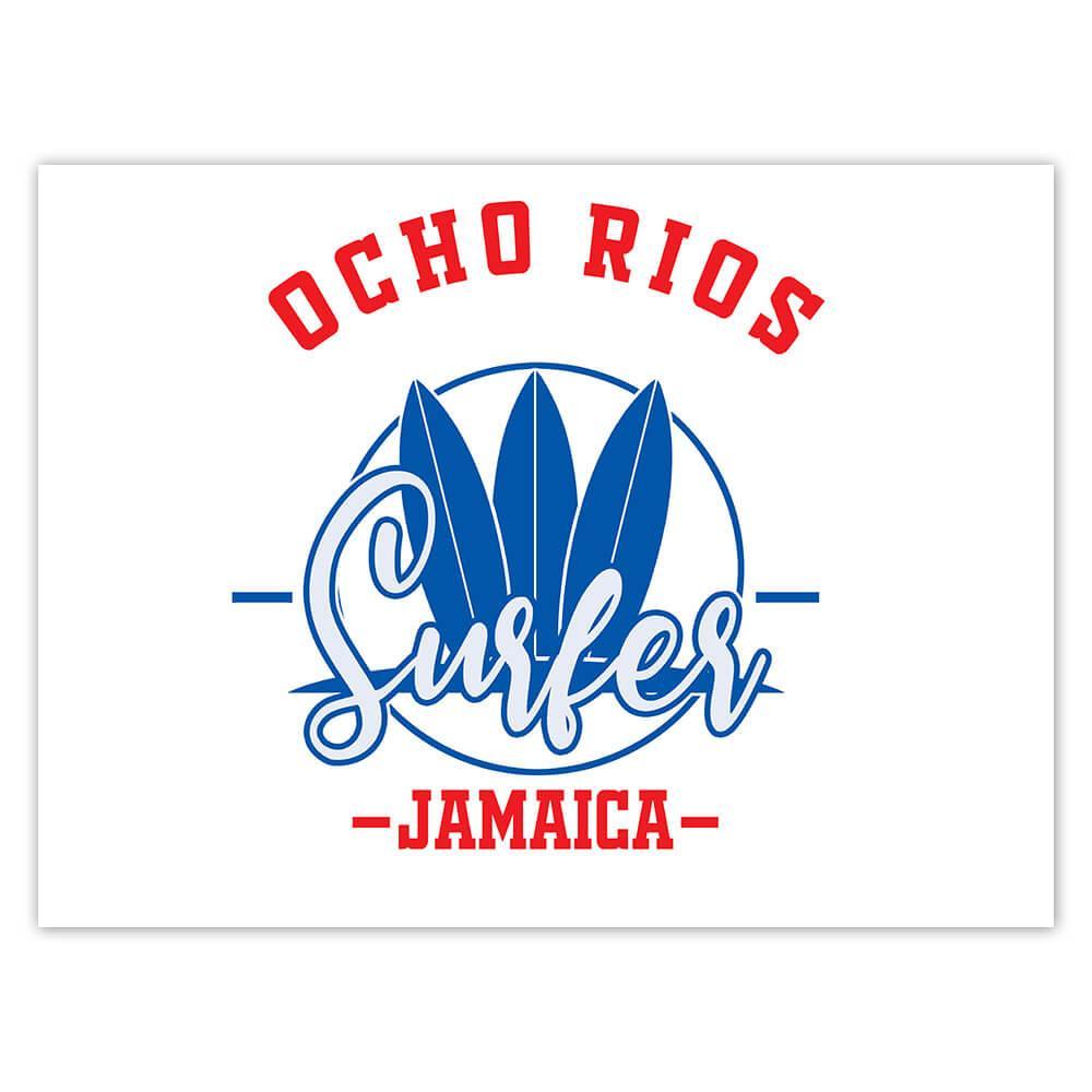Ocho Rios Surfer Jamaica : Gift Sticker Tropical Beach Travel Vacation Surfing