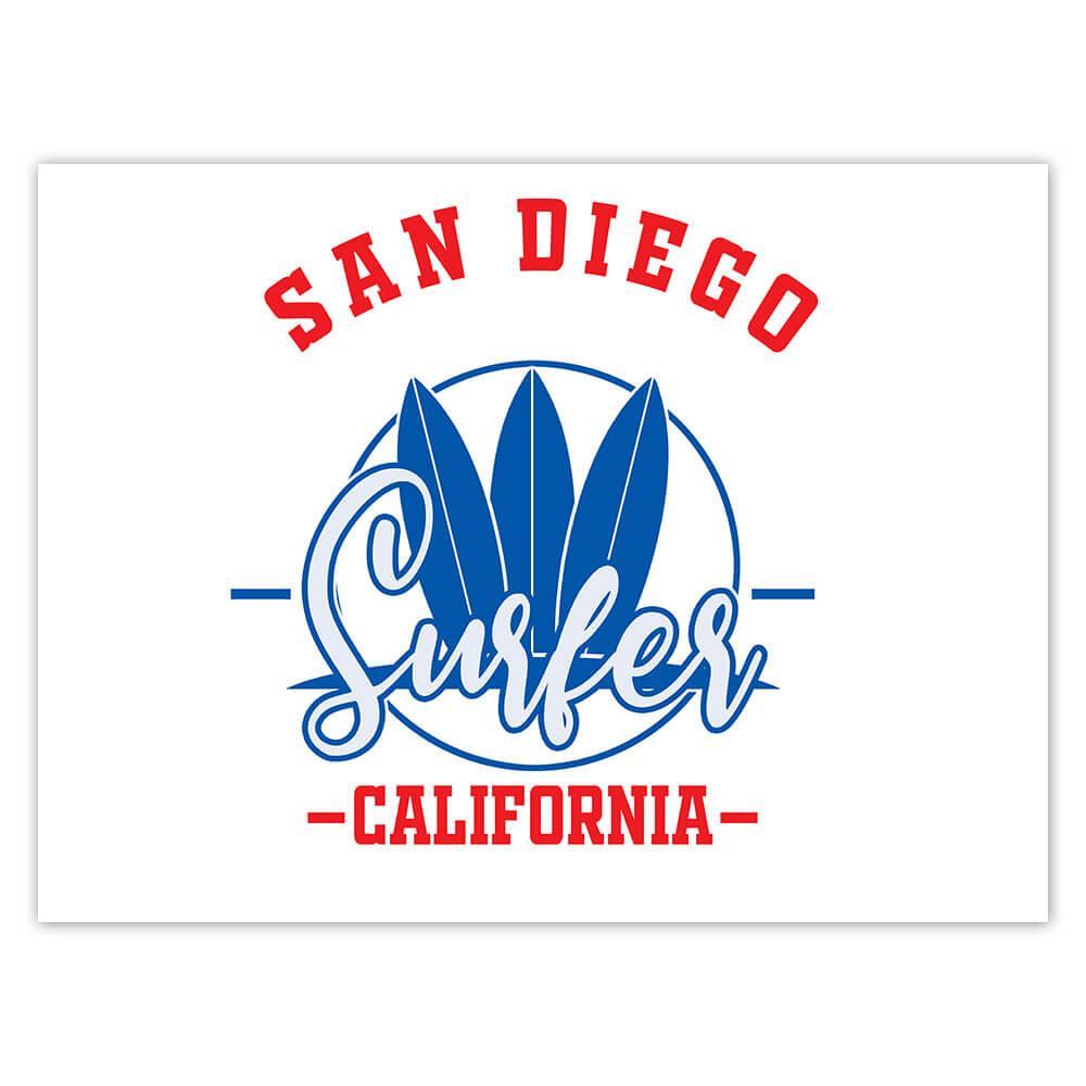 San Diego Surfer California USA : Gift Sticker Tropical Beach Travel Vacation Surfing