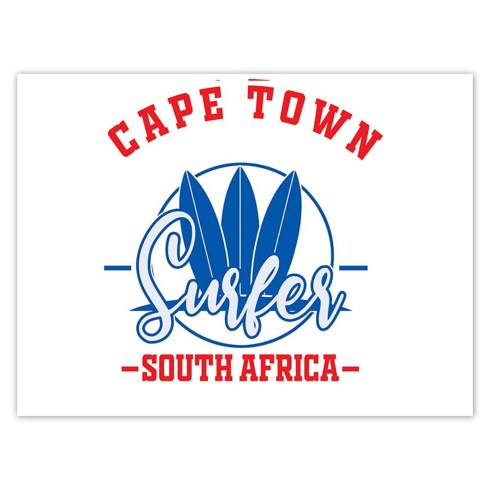 Cape Town Surfer South Africa : Gift Sticker Tropical Beach Travel Vacation Surfing