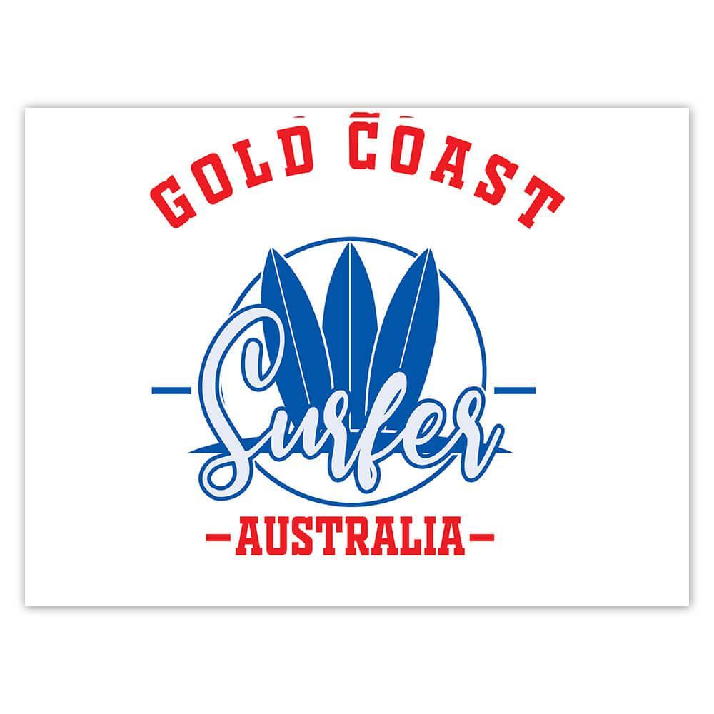 Gold Coast Surfer Australia : Gift Sticker Tropical Beach Travel Vacation Surfing