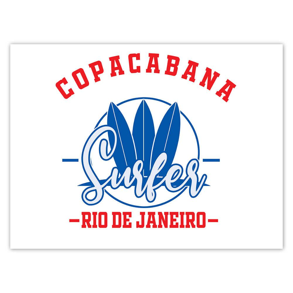 Copacabana Surfer Brazil : Gift Sticker Tropical Beach Travel Vacation Surfing