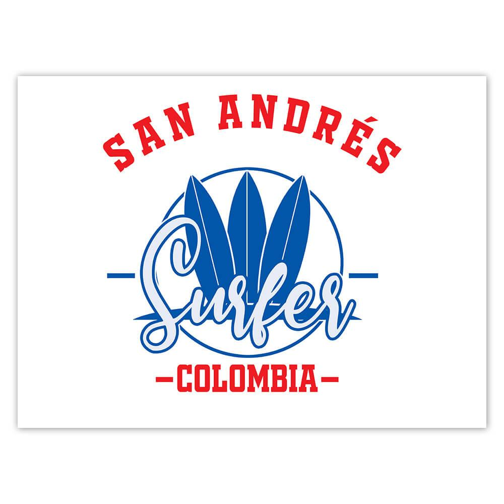 San Andres Surfer Colombia : Gift Sticker Tropical Beach Travel Vacation Surfing