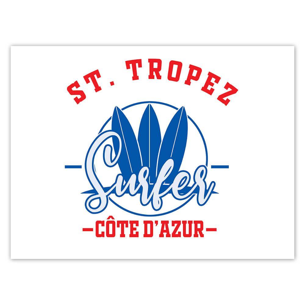 St. Tropez France : Gift Sticker Surfer Tropical Souvenir Travel