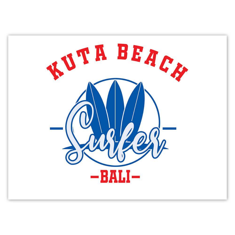 Kuta Beach Indonesia : Gift Sticker Surfer Tropical Souvenir Travel