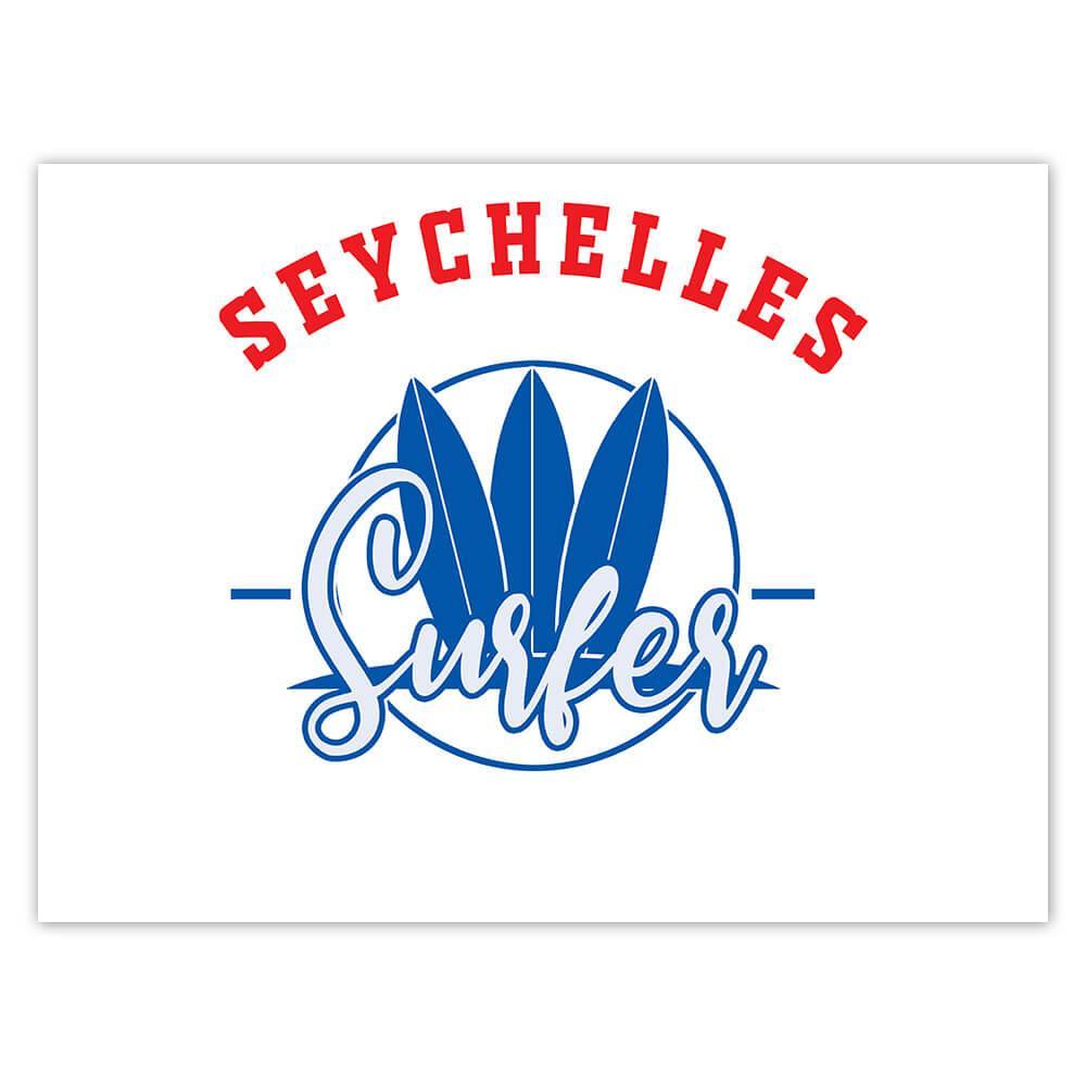 Seychelles Surfer : Gift Sticker Tropical Beach Travel Vacation Surfing