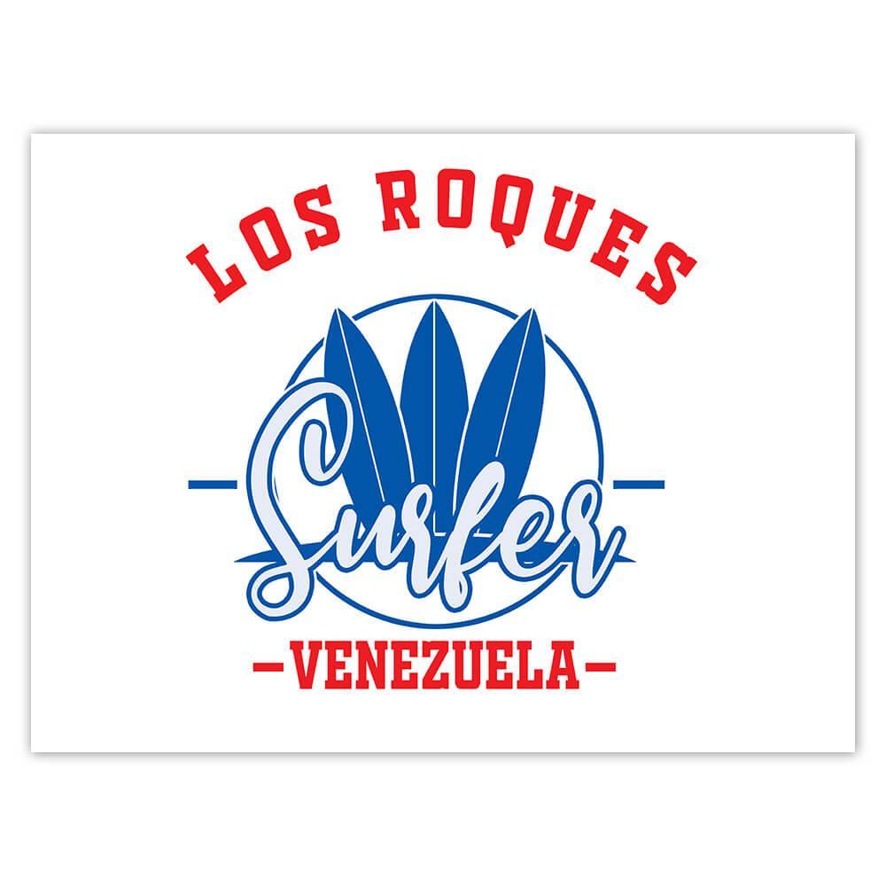 Los Roques Surfer Venezuela : Gift Sticker Tropical Beach Travel Vacation Surfing
