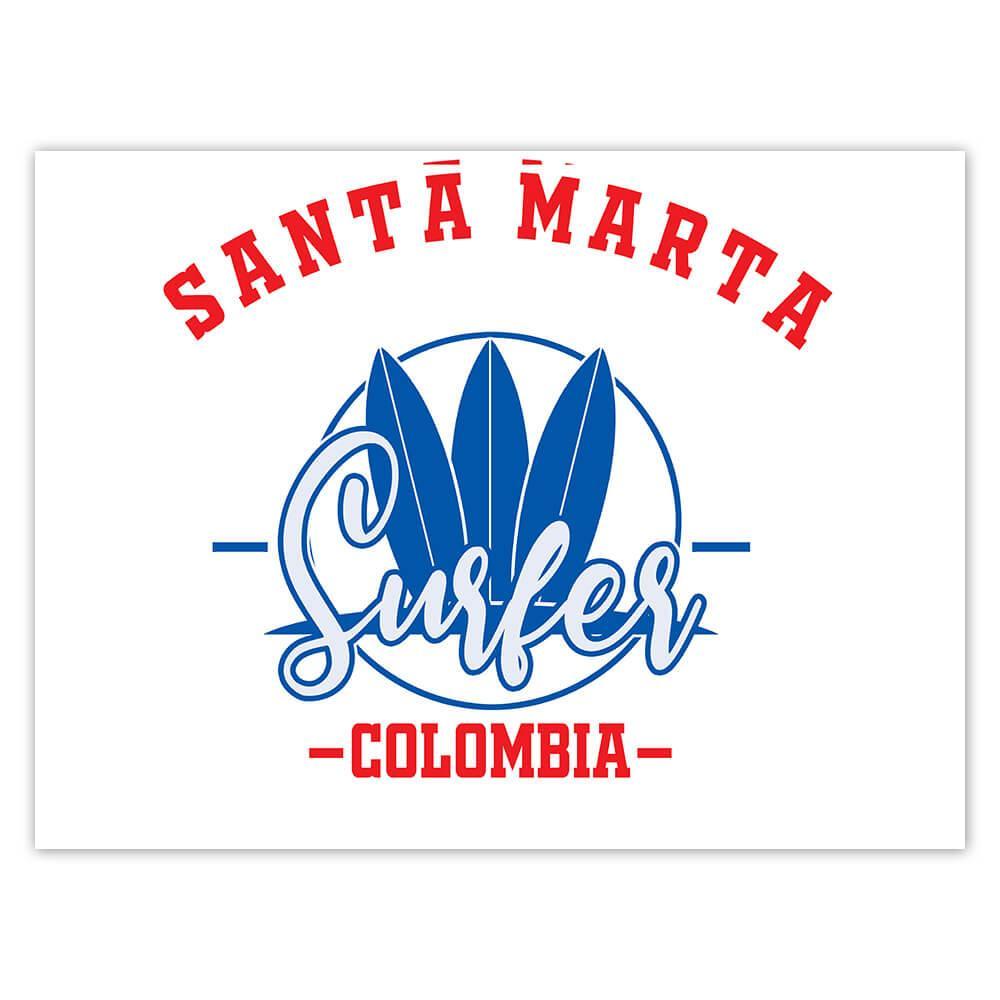 Santa Marta Surfer Colombia : Gift Sticker Tropical Beach Travel Vacation Surfing