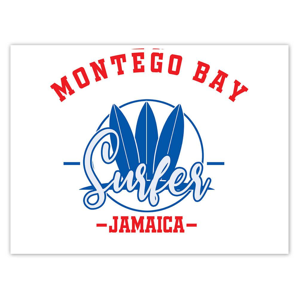 Montego Bay Surfer Jamaica : Gift Sticker Tropical Beach Travel Vacation Surfing