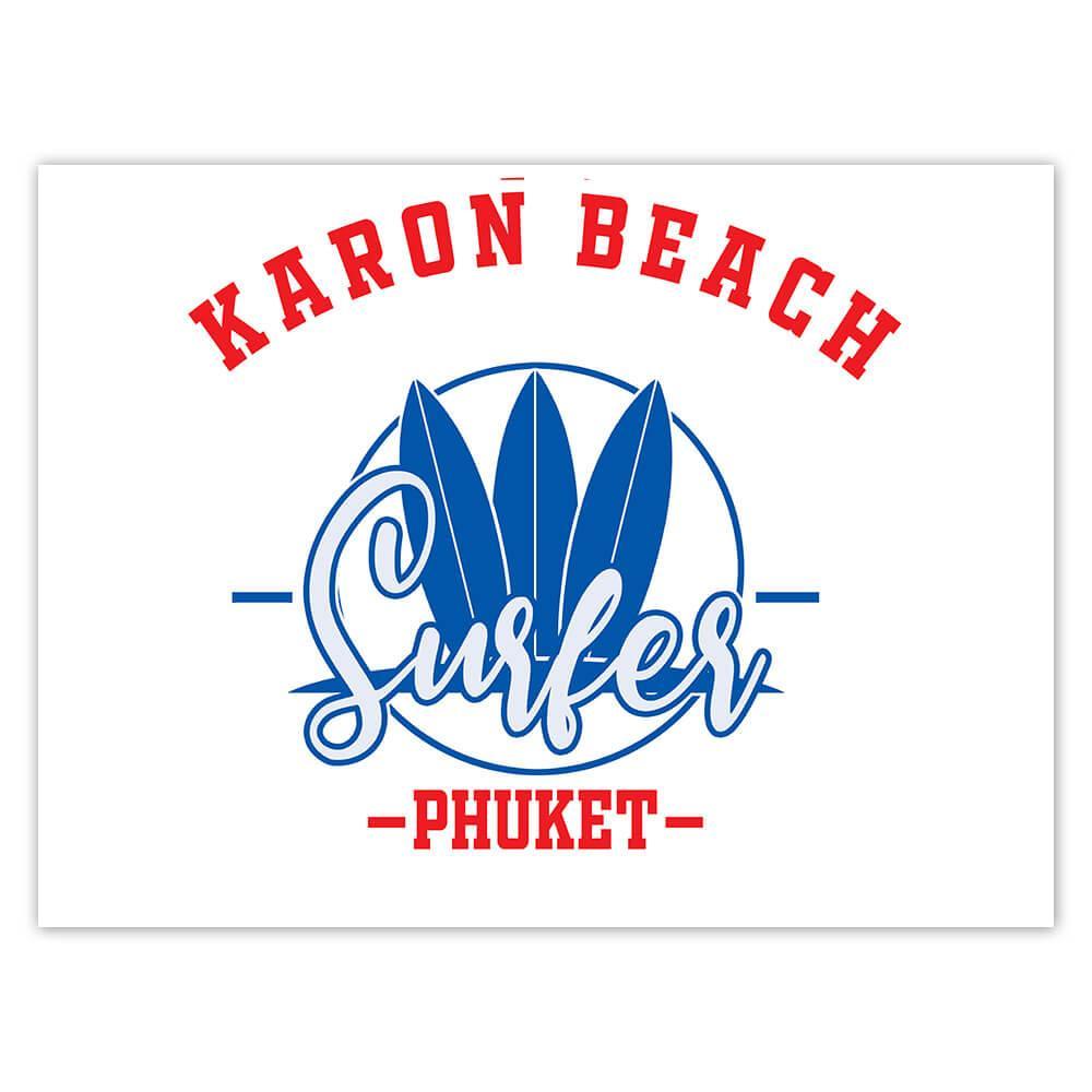 Karon Beach Thailand : Gift Sticker Surfer Tropical Souvenir Travel