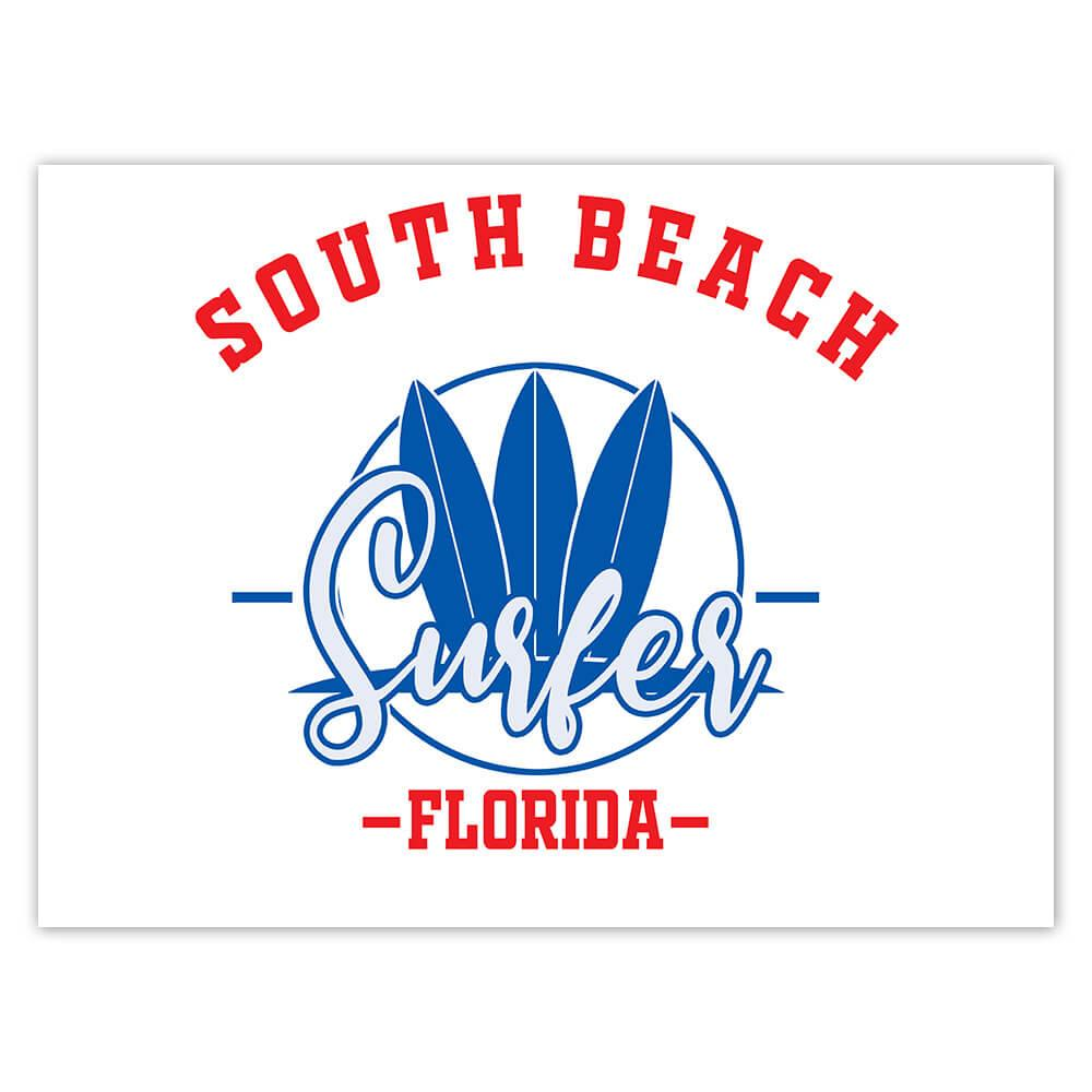 South Beach Surfer Florida USA : Gift Sticker Tropical Travel Vacation Surfing