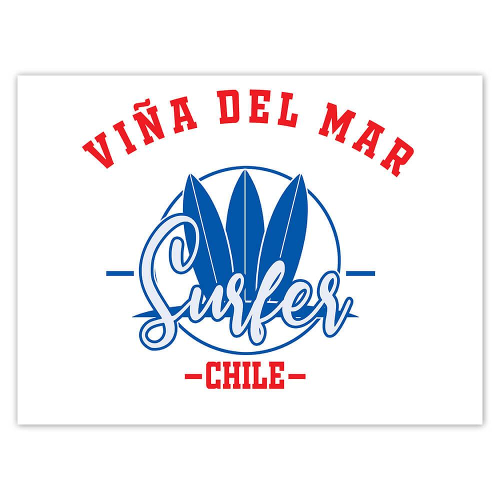 Vina Del Mar Surfer Chile : Gift Sticker Tropical Beach Travel Vacation Surfing
