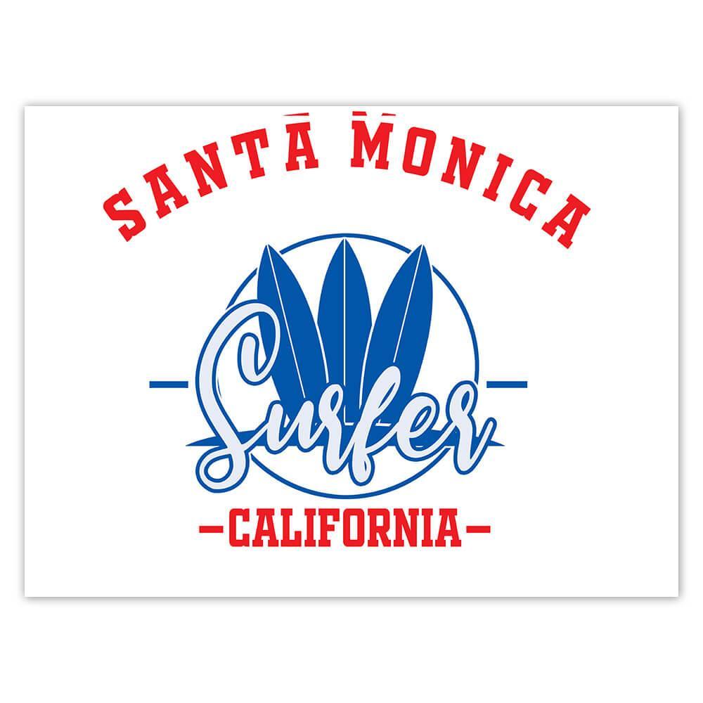 Santa Monica Surfer California USA : Gift Sticker Tropical Beach Travel Vacation Surfing