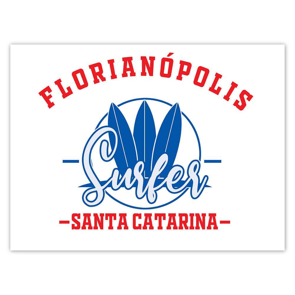 Florianopolis Surfer Brazil : Gift Sticker Tropical Beach Travel Vacation Surfing