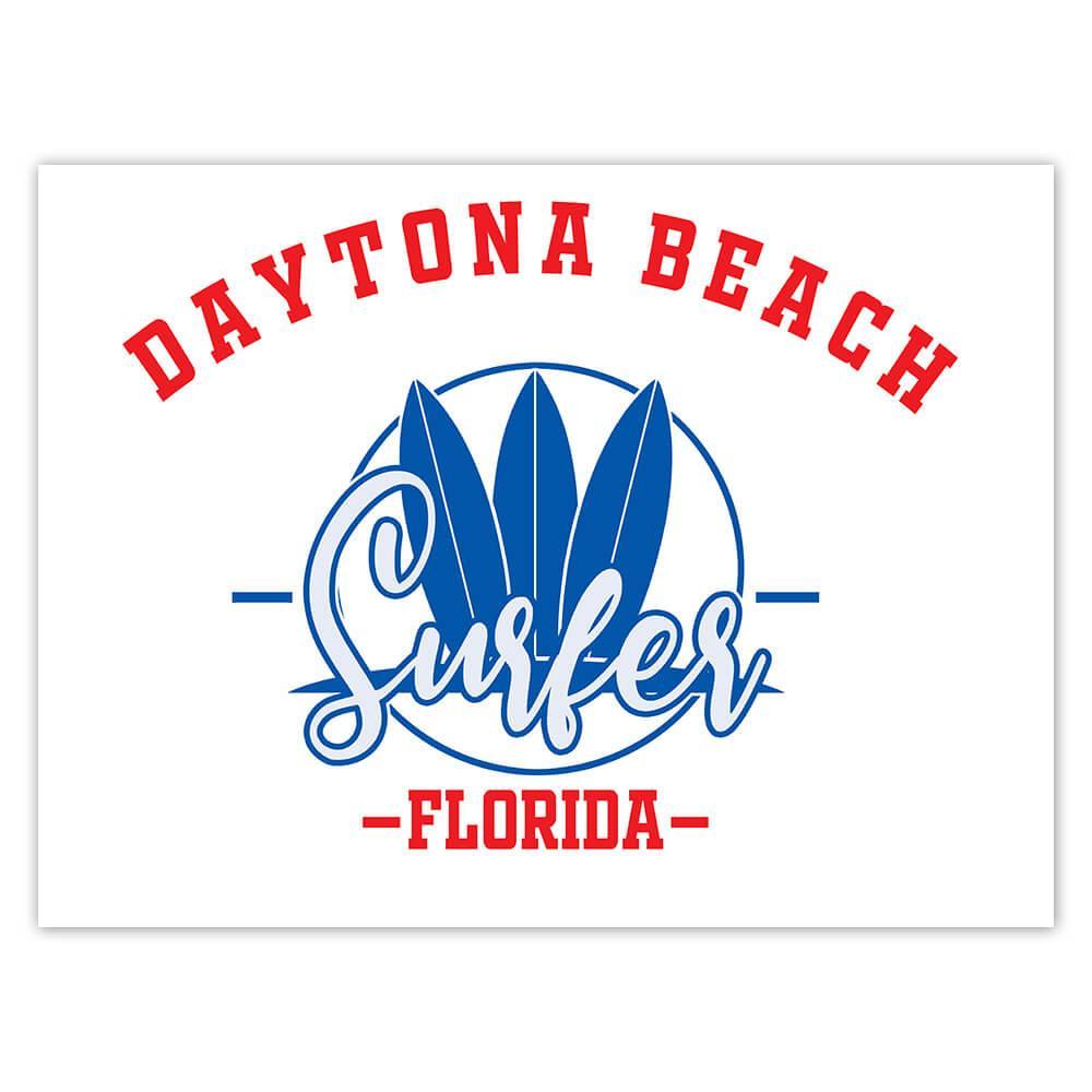 Daytona Beach Surfer Florida USA : Gift Sticker Tropical Travel Vacation Surfing