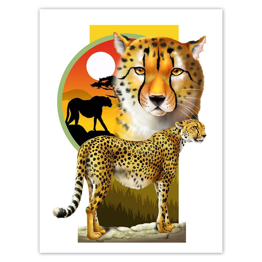 Cheetah : Gift Sticker Wild Animals Wildlife Fauna Safari Endangered Species