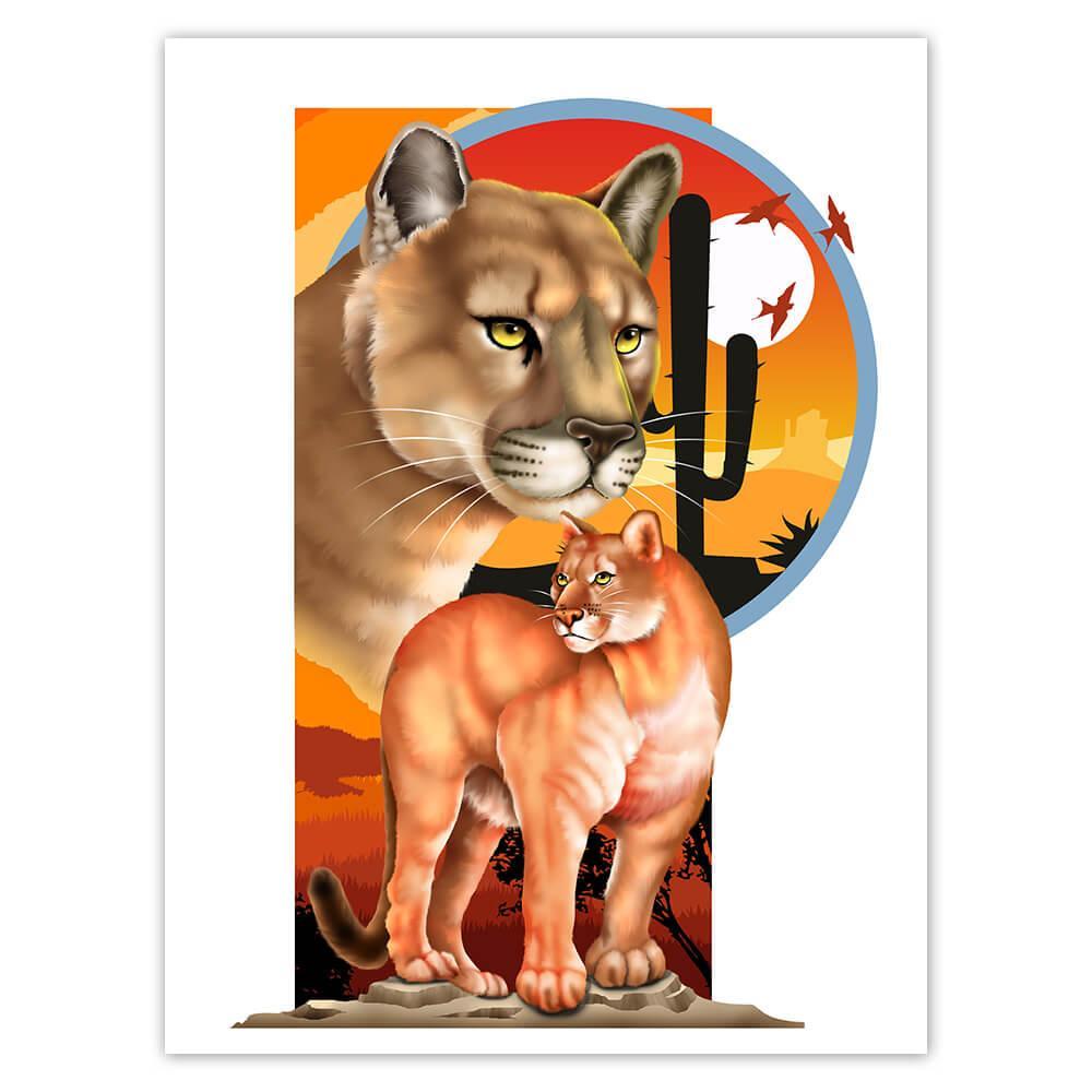 Puma : Gift Sticker Wild Animals Wildlife Fauna Safari Endangered Species