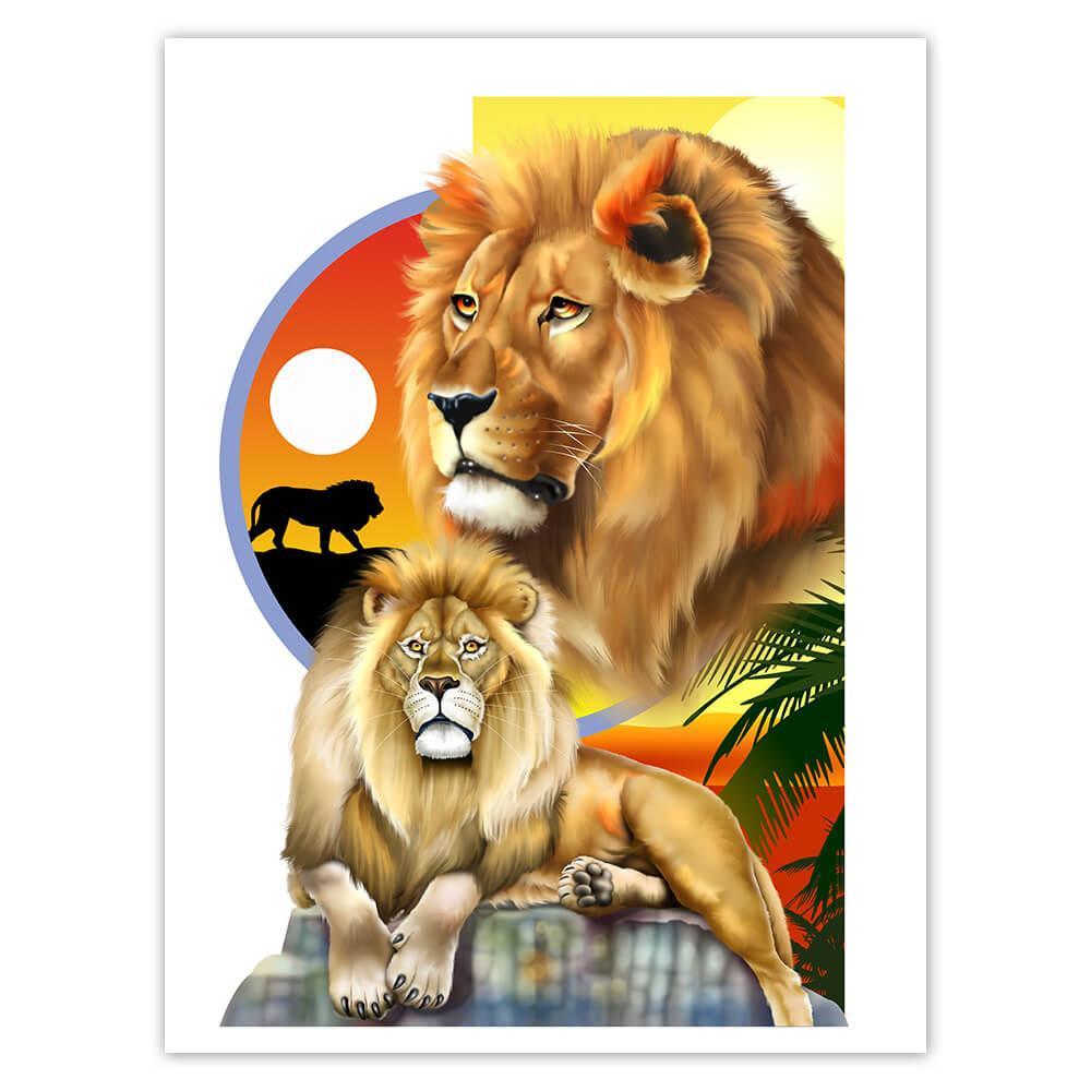 Lion : Gift Sticker Wild Animals Wildlife Fauna Safari Endangered Species