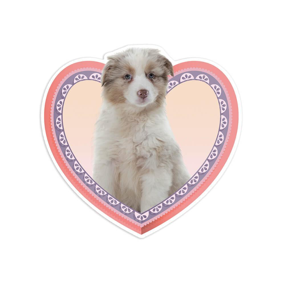 Australian Shepherd Puppy Heart : Gift Sticker Dog Pet Animal Cute