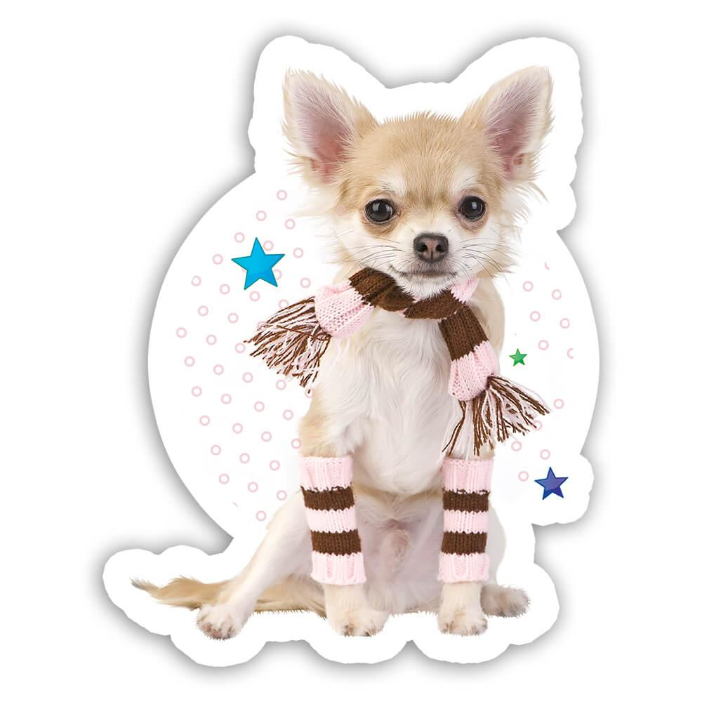 Chihuahua Polka Dots : Gift Sticker Cute Sweet Pet Animal Dog Patchwork Winter Puppy