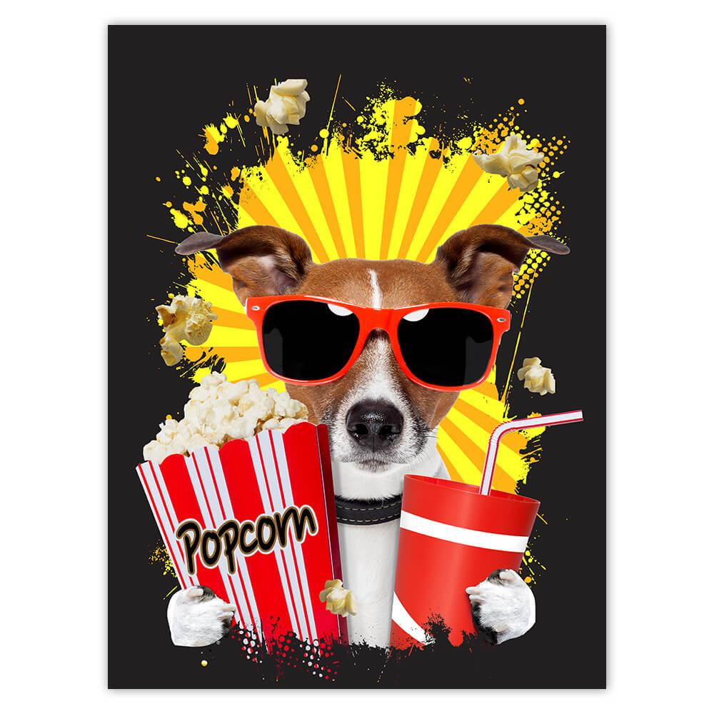 Jack Russell Terrier Cinema : Gift Sticker Cute Dog Pet Animal Popcorn Patchwork Funny