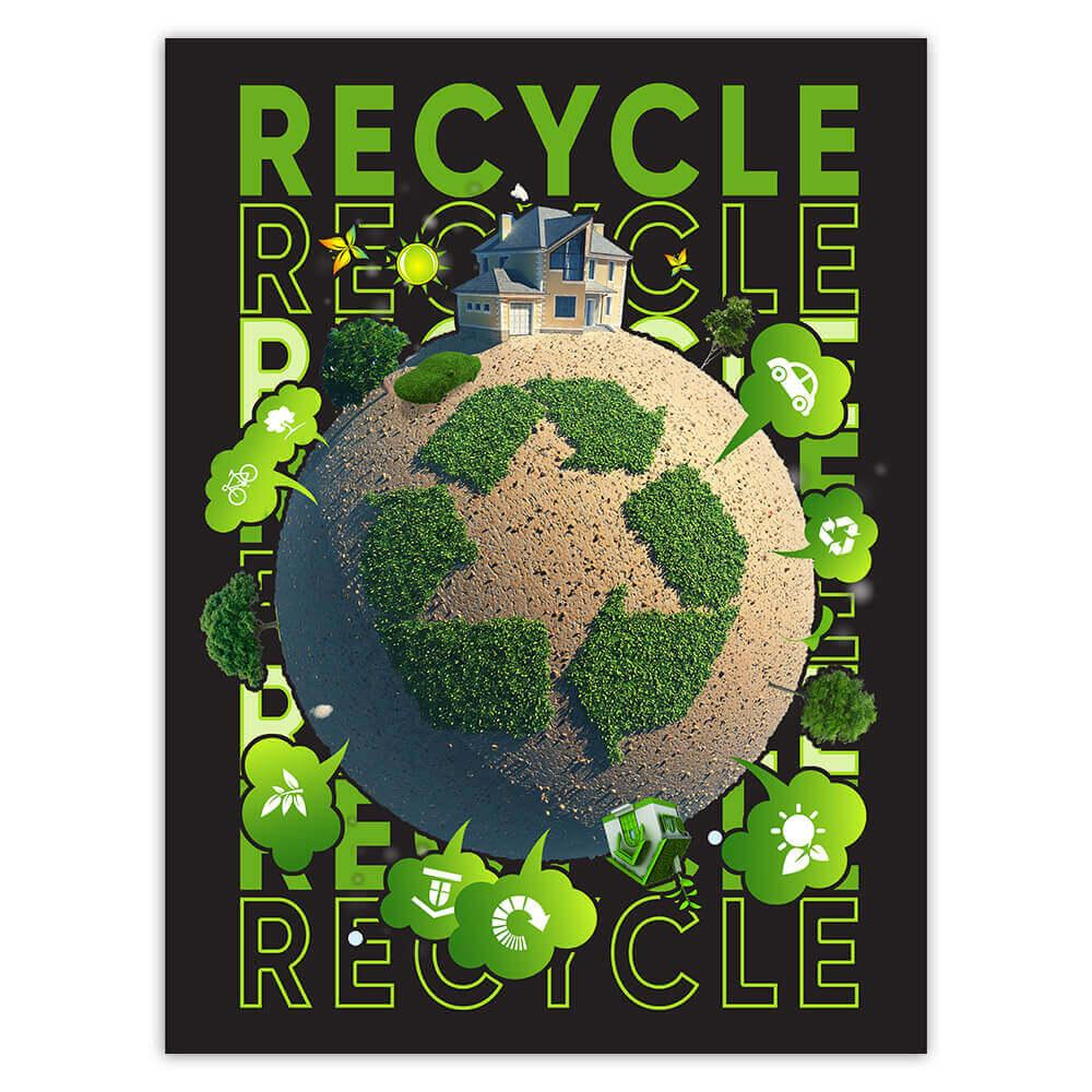 Ecolife New World Go Green Recycle : Gift Sticker Protect Our Planet Trees Lover Organic