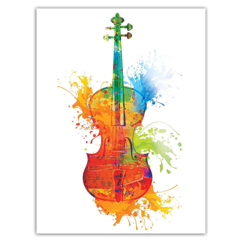 Bright Colors Violin Paint Blots Musical Notes Score : Gift Sticker Classic Art Wall Decor