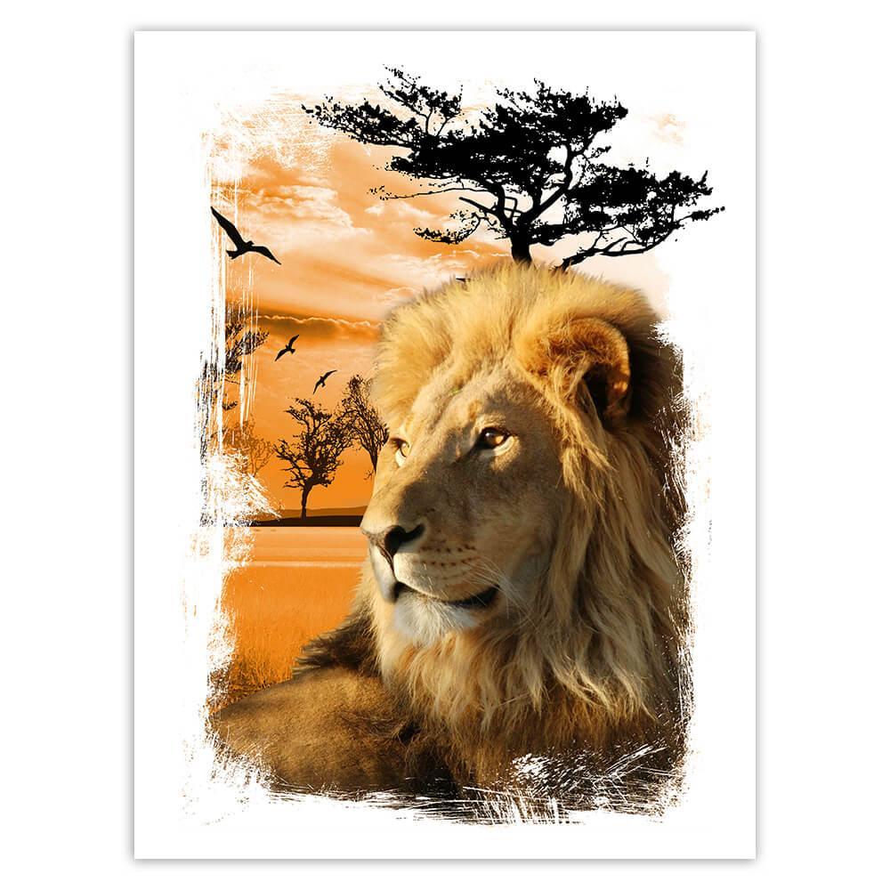 Lion : Gift Sticker Wild Animals Wildlife Fauna Safari Nature