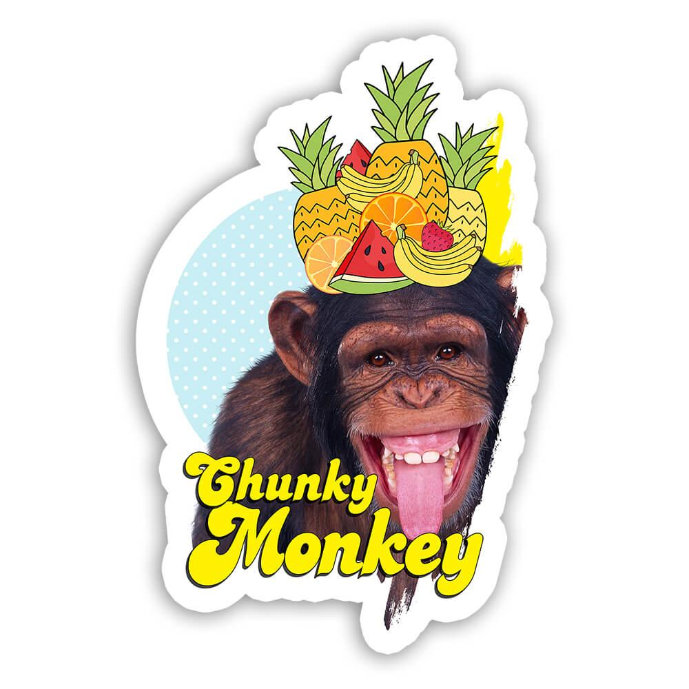 Funny Monkey Smiling Fruit : Gift Sticker Animal Ape Chimp Humor