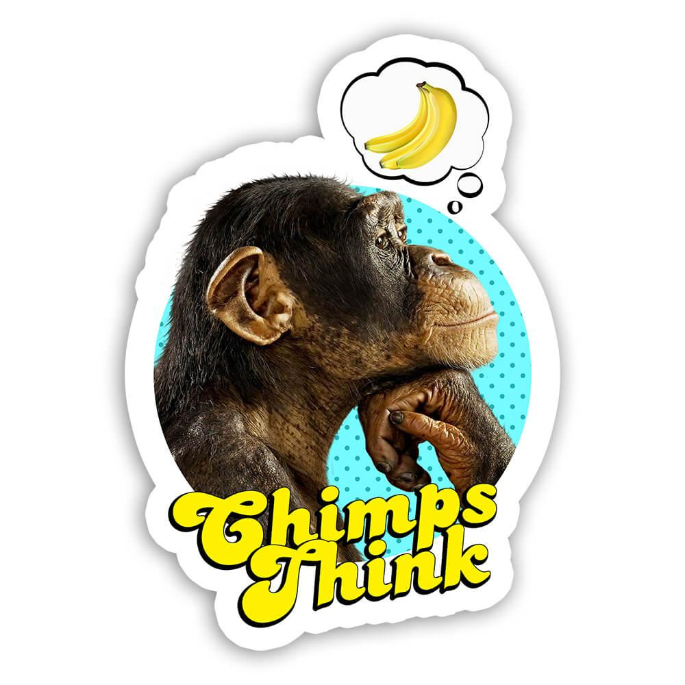 Funny Monkey Thinking Banana : Gift Sticker Animal Ape Chimp Humor