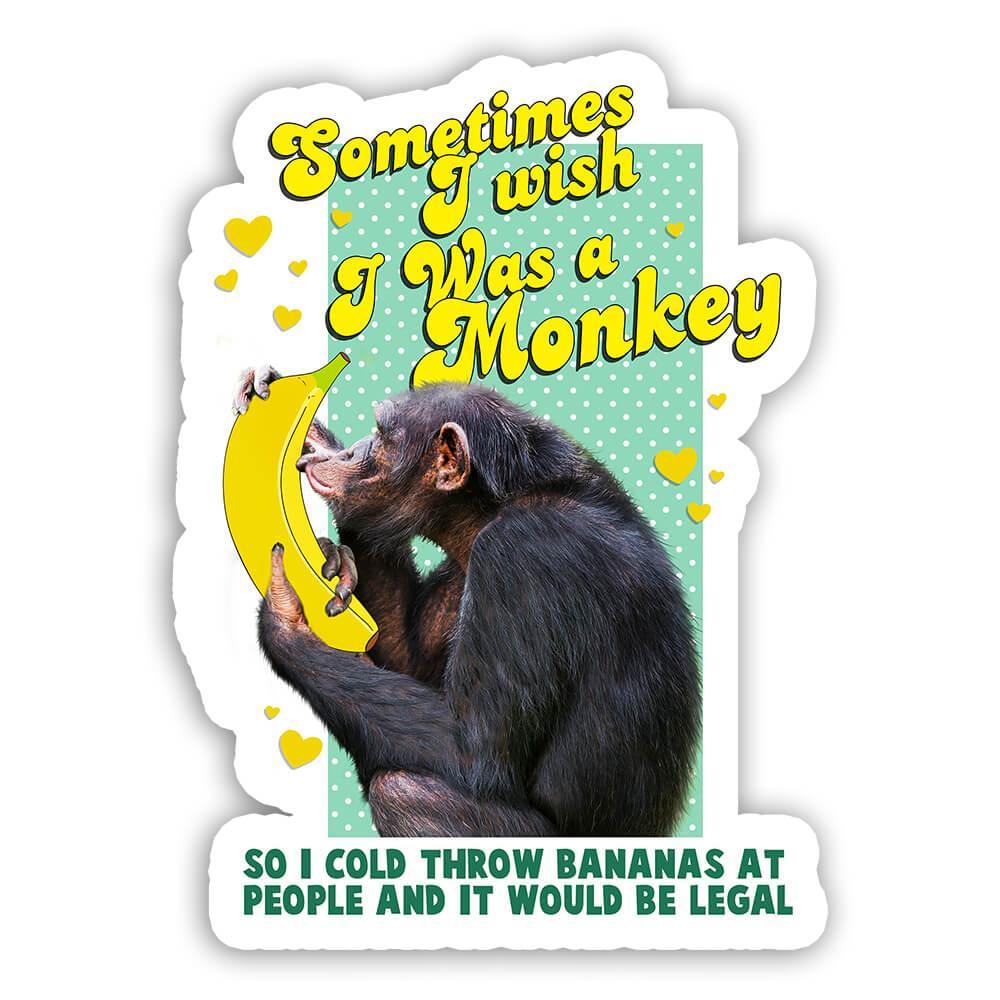 Funny Monkey Kissing Banana : Gift Sticker Animal Ape Chimp Humor