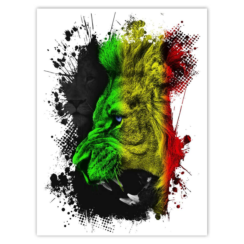 Reggae Nation Lion Jamaica Flag Musical Style : Gift Sticker Wild Animal Colors Poster