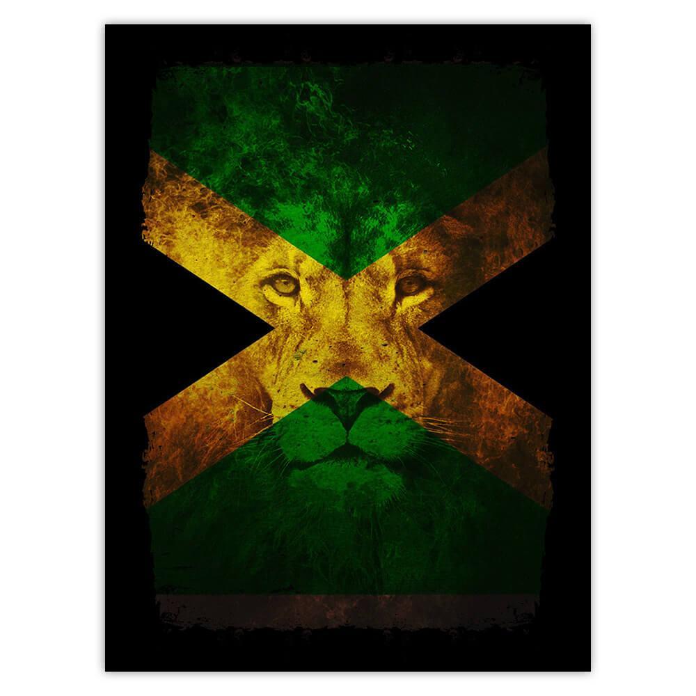 Reggae Music Lion Jamaican Flag Wall Art : Gift Sticker Feline Animal Teen Room Decor