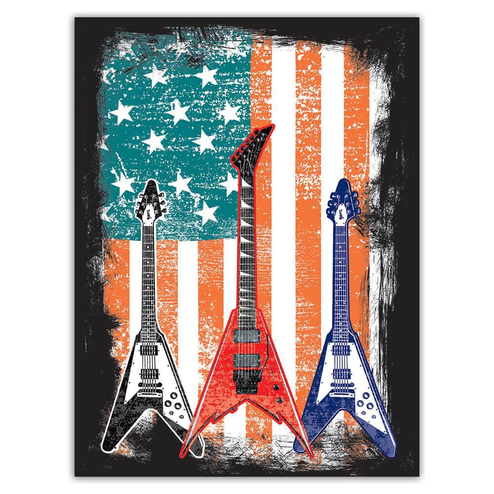 Rockers Guitars Music Art Print : Gift Sticker USA Flag American Wall Decor Retro