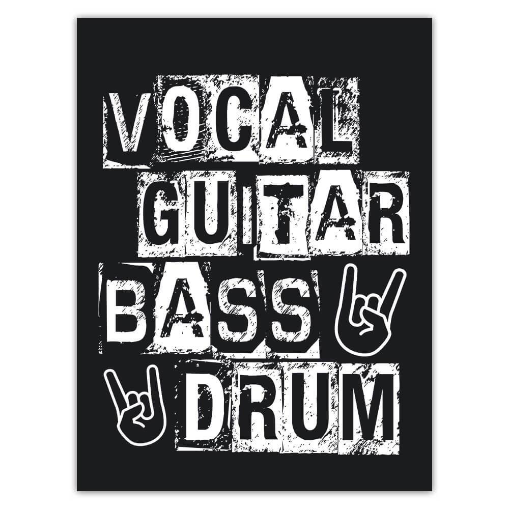 Vocal Guitar Bass Drum Rock Hand Sign : Gift Sticker Musical Wall Art Poster Retro Card