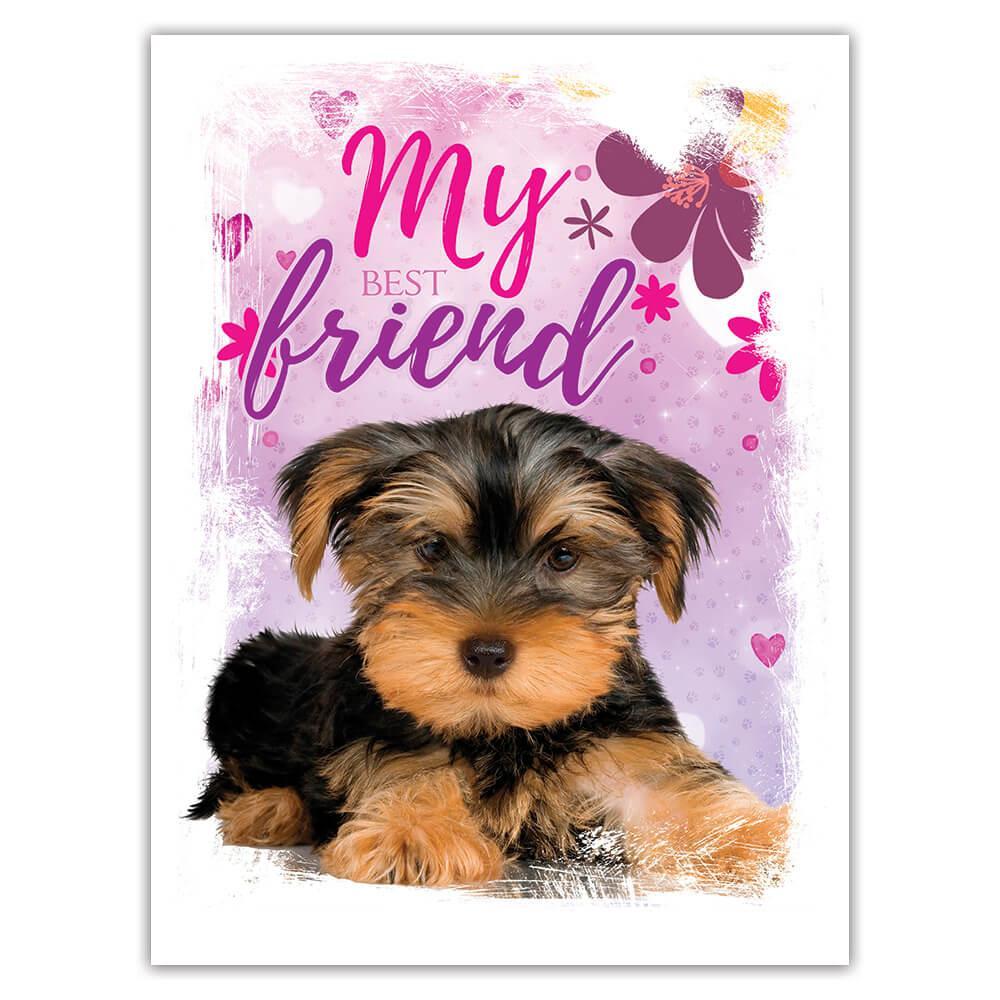 Yorkshire Hearts : Gift Sticker Sweet Pet Small Dog Animal Flower Girlie Baby Shower