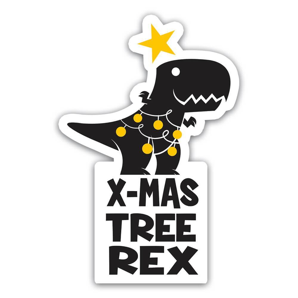Christmas Tree Rex Funny Dinosaur Tyrannosaurus : Gift Sticker New Year Humor Poster