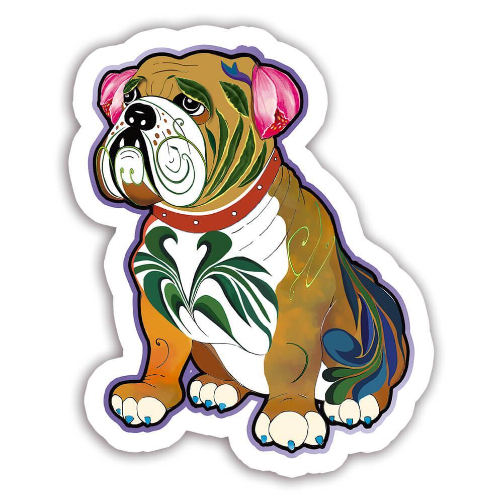 Bulldog Fusion Colorful : Gift Sticker Dog Pet Animal CuteWatercolor